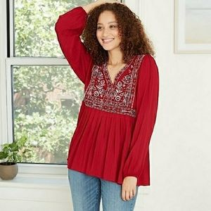 Women's Knit Back Long Sleeve Embroidered Blouse